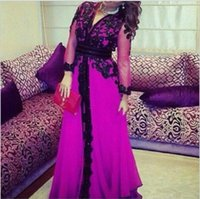 Wholesale Dresess Summer - 2016 Arabic Long Sleeve Evening Dresess with Sexy Deep V Neck Black Lace Applique Beads Floor Length Prom Gowns
