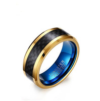 Wholesale Rose Tungsten Rings - 8mm Wide Fashion Men's Tungsten Ring Black And Rose Gold Plated Wedding Band Men Jewelry High Quality Tungsten Rings for Men