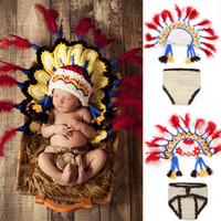 Wholesale crochet baby clothes - Hot newborn Photography Prop Baby Infant handmade crochet Indian chief knit Costume hat for children clothing accessories set HX