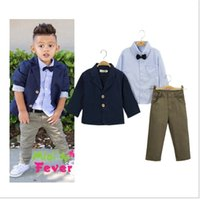 Wholesale Boys Outfit Jacket - Boys England Style Gentleman Sets Outfits Children Autumn Jackets+Shirt+Bowtie+Trousers 4pcs Set Kids Clothing Baby Boy Child Suit 2-8T