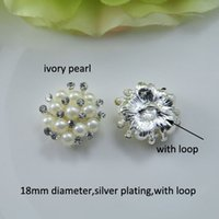 Wholesale Pure Silver Buttons - (J0321) 18mm diameter elegant rhinestone metal button, silver plating,ivory pearl or pure white pearl,with loop at back