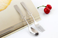 Wholesale heart spoon fork set resale online - New portable stainless steel piece love heart fork spoon for Wedding Couples spork tableware set for guests wedding gifts souvenirs