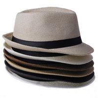 соломенные федоры для мужчин оптовых-Cool Мужчины Женщины Соломенные Панама Шляпы На Открытом Воздухе Случайные Шапки Fedora Повседневная Путешествия Пляж Солнце Шляпы Цвет Выбрать ZDS * 1