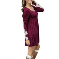 Wholesale Vestidos Crochet - New Spring Autumn 2016 Women Long Sleeve Floral Lace Crochet Mini Dress Casual O Neck High Waist Loose Vestidos Plus SizeF