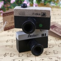 Wholesale Camera Stamps - Lovely 2 Model Korea Wooden retro Camera Rubber Stamp Seal Gray & Brown DIY Free Shipping