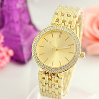 Wholesale metal watches for women - High quality dress diamond color dials women watches alloy metal rose gold luxury brand bracelet folding buckle wristwatch girl for gifts