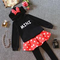 Wholesale Girl Dots Winter Coat - Children Clothing Set For 2015 Autumn New Arrival Girls Mickey Suit Hooded Sweatshirt + Pants 2 Pcs Set Fit 3-9 Age 5Pcs Lot 100-140 SS278