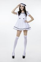Wholesale navy uniforms women - 2018 New White Adult Sailor Dress Uniform Temptauniform Sexy Navy Cosplay Halloween Costumes Club Stage Performance Clothing Hot Selling