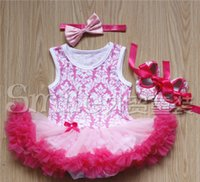 Wholesale Baby Girls Rosette Tutu Dress - NEW baby girl infant toddler 3pc cute outfits Leopard flower onesies romper tutu dress jumper + rosette satin headband + bowknot shoes 3sets