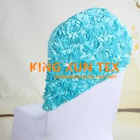 Wholesale Wedding Chairs Covers For Sale - Hot Sale Satin Rosette Spandex Chair Hood \ Cap Fit For Banquet Wedding Chair Cover Free Shipping