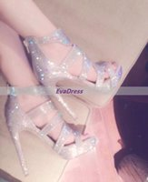 Wholesale Silver Beading Prom Shoes - Rhinestone Women Prom Zapatos Mujer Shoes Zipper Crystal Bead Diamond Pumps Arrival Shine Wedding High Roman Style Heels