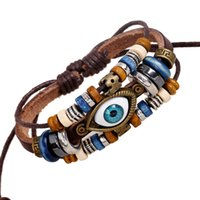 Wholesale Good Luck Beads Bracelet - Wholesale-YL Vintage Genuine Leather Evil Eye Bracelets For Male Multi Layer Beads Braclets Pulseira de Couro Masculina Good Luck Jewelry
