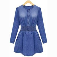 Wholesale Women Playsuit Dots - S5Q Vintage Women Long Sleeved Slim Casual Denim Jeans Party Playsuit Mini Dress AAAENB
