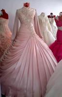Wholesale White Taffeta Empire Wedding Dresses - Pink Muslim Wedding Dress 2016 Ruffles Taffeta Long Sleeve High Neck Bridal Wedding Dresses 2015 Custom Made Dress Wedding style
