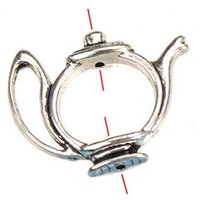 Wholesale Vintage Metal Necklace Frames - Jewelry Findings Frame Beads For BeadS Bracelets Necklaces Crafts Making DIY Vintage Silver Flat Teapot Open Metal Fashion 23*19mm 100pcs