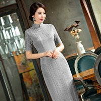 Wholesale Silk Cheongsam Qipao - Shanghai Story high-grade long cheongsam dresses Faux Silk cheongsam qipao dress chinese traditional clothing hot sale