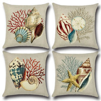 Sea Shells Funda de Almohada Impreso Estilo Mediterráneo Sofá Throw Pillow Case Cojín de Lino Square Pillow Cover Home Supplies YFA103