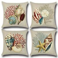 tirar almohadas cubre conchas al por mayor-Sea Shells Funda de Almohada Impreso Estilo Mediterráneo Sofá Throw Pillow Case Cojín de Lino Square Pillow Cover Home Supplies YFA103