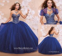 Wholesale blue cheap quinceanera dresses - Custom Made Royal Blue Tulle Ball Gown Quinceanera Dress 2016 With Jacket Sweetheart Beading Sweet 16 Pageant Dresses Prom Party Wears Cheap
