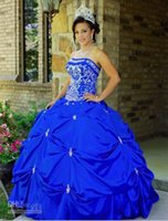 Wholesale Taffeta Beaded Blue Prom Dress - 2015 Princess Ball Gown Quinceanera Dresses with Beaded Embroidery Applique Blue Strapless Floor-Length Taffeta Party Prom Gowns cheap