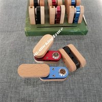 Wholesale Metal Snuff Grinder - Wholesale-12pc portable funny solid wood smoking pipe shisha hookah grinder rolling machine metal snuff snorter sniff vaporizer injector