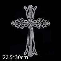 Wholesale rhinestone cross transfers - New 22.5*30cm Cross Iron on the transfer rhinestone transfer for DIY Cloth Accessory