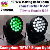 Al por mayor-Freeshipping 2pcs / lot 19 * 12W LED de cabeza móvil Rayo de luz Taiwán Tianxin LED RGBW 4in1 función de Zoom 6-50 Grado 16DMX 110V-240V
