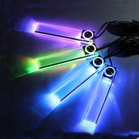interior azul levou luzes carros venda por atacado-4 LED Car Interior Luz Decorativa Atmosfera Lâmpada Atmosfera Luz Azul e Rainbow lâmpadas de carro 4 em 1 conjuntos de luz