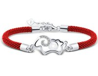 Wholesale Platinum Braids - Animal Bracelet 30% 925 Sterling Silver Fine Lucky Sheep Bracelets Red Rope Braided Friendship Bracelet Christmas Birthday Gift New arrival