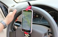 Wholesale 10pcs Universal Car Steering Cell Phone Mount Wheel Bike Clip Phone Holder For Samsung Iphone Phone GPS MP4 IPOD Free Shipment
