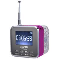 mini led ekranlar toptan satış-Destek Lirik ekran ile Taşınabilir USB mini hoparlör NiZHi TT029 FM radyo LED Ekran Mikro SD / TF USB Disk Hoparlör