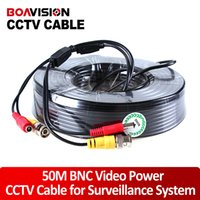 Wholesale Coaxial Cable Power - 1 x 165FT 50M Black CCTV Security Surveillance Camera Video Power Cable coaxial cable for CCTV