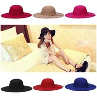 Женская шерсть Felt Beach Bowknot Hats Lady Vintage Wide Brim Caps Girl Зимняя одежда Floppy Hats EKN * 10