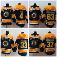 Wholesale Rays Hoodie - 37 Patrice Bergeron Boston Bruins Jersey 33 Zdeno Chara 77 Ray Bourque 63 Brad Marchand 4 Bobby Orr Men's Hoodie Sweater Hockey Jersey