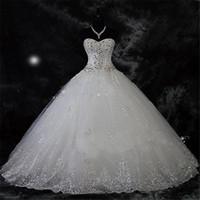 elbiseler mariage toptan satış-Robe De Mariage Dantel Rhinestone Artı Boyutu Balo Gelinlik 2019 Düğün Gelin Törenlerinde Vestido De Novia