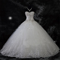 Wholesale White Sweetheart Rhinestone Dress - Robe De Mariage New Arrival Lace Rhinestone Vintage Plus Size Wedding Dress 2017 Wedding Gown Vestido De Novia