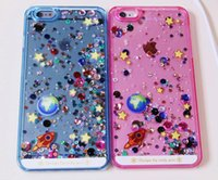 Glitter Star Quicksand Líquido Dynamic Hard Case claro transparente brilhar casos capa traseira para iPhone 4s 5s 6 6 mais Phone Case