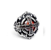 Moda Evil Eyes Cross Anillos Alta calidad de acero inoxidable Antique Man Ring Vampire Wedding Band Knight Ring Cross Ring