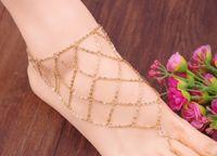 bracelets de cheville achat en gros de-Lady Fashion Beach Multi Gland Toe Anneau Chaîne Lien Pied Pied Bijoux Chaîne de Cheville Chaîne Femmes Cadeau mode déclaration de bijoux 2015 nouvelle arrivée 160243