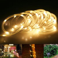 23ft étanche LED Guirlandes solaires 7M 50 LEDs 1.2V chaudes corde lumières cool / Fée Outdoor Wedding Party de Noël Portable Bleu Blanc RGB