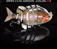 "Wholesale Good Quality Lures - 4PCS LOT New Swimbait Fishing bait 2014 Seatoper 6 Sections Fishing Lure 8cm 3.15"" 0.55oz 15.5g 6# Good Quality Hook Fishing Tackle"