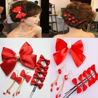 Wholesale Cheapest Clip Earrings - Cheapest!! 8 Pieces Sets Red Bows Wedding Women Headpieces Earrings And Fascinators Charming Free shipping prom party Head Clips WWL