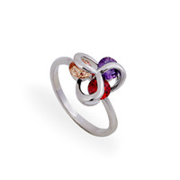 Wholesale brilliant solitaire - New Arrival Cheap Three Brilliant Garnet Citrine Amethyst and Mix Colored Rhinestone Round-cut Diamond Love Knot Rings