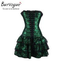 Wholesale Gothic Corset Dress Plus Size - Burvogue hot sale shapers green Red lace evening sexy women corset and bustier Plus Size Push up Gothic corset dress