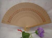fan de la fragancia al por mayor-Ventiladores de madera de la fragancia plegables tallados chino libre del envío 100pcs