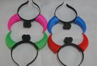 Wholesale Ox Bag - 100pcs Christmas Ox Horn Party Headwear Flashing LED Hair Clasp Headband Xmas Birthday Gift Devil horns with opp bag