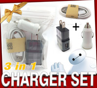Wholesale Iphone Cable Wall - 2016 3 in 1 charger adapter wall chargers portable charger car charger phone chargers iphone charger retail packaging charger iphone cable