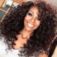 Wholesale Gluless Lace Wigs - Peruvian Hair Wigs Remy Human Hair Full Lace Wigs Natural Color Gluless Lace Curly Wigs for Black Women 150%Density Free shipping Bella Hair
