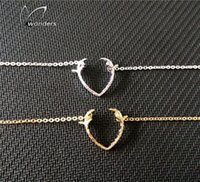 Wholesale Dainty Bracelets - Wholesale-2015 Dainty Couple Jewelry Hallowmas Gift Gold Silver Rudolph Antler Deer Charm Bracelet for Women and Men