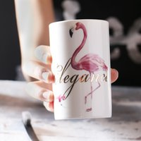 Wholesale Paint For Pottery - Ceramics Flamingo Coffee Mugs Creative Cups 3D Flamingo painting Cup for lovers 12oz Flamingo Drinkware Free DHL XL-416